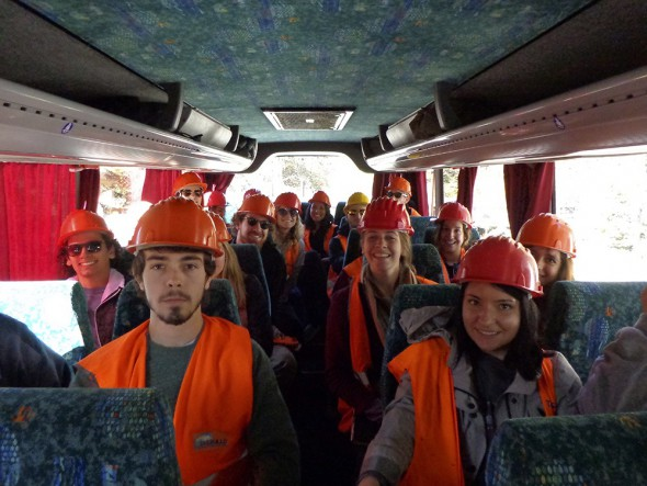 Students prepare to go into the mine