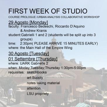 First Week of Studio