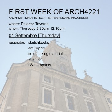 First Week of Arch4221