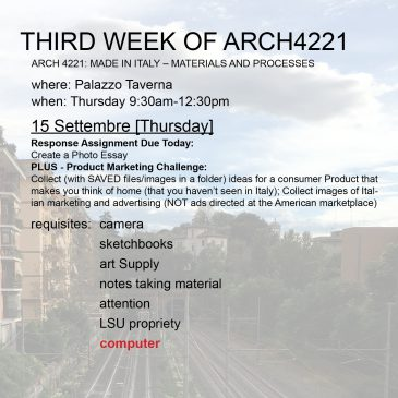 Third Week of Arch4221
