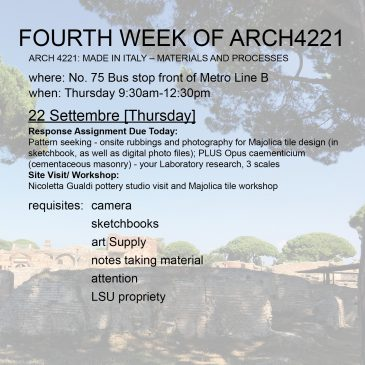 Fourth Week of Arch4221