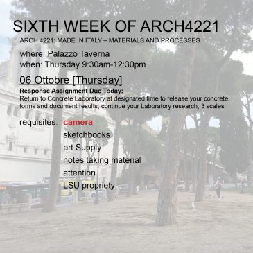 Sixth Week of Arch4221