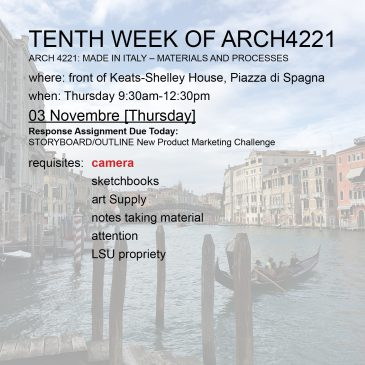 Tenth Week of Arch4221