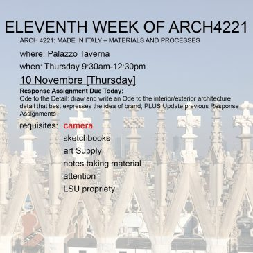 Eleventh Week of Arch4221