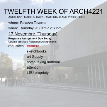 Twelfth Week of Arch4221