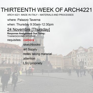 Thirteenth Week of Arch4221