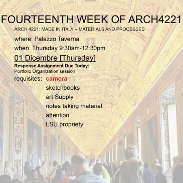Fourteenth Week of Arch4221