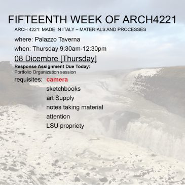 Fifteenth Week of Arch4221