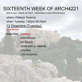 Sixteenth Week of Arch4221
