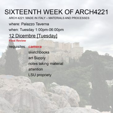 Sixteenth Week of Arch4221